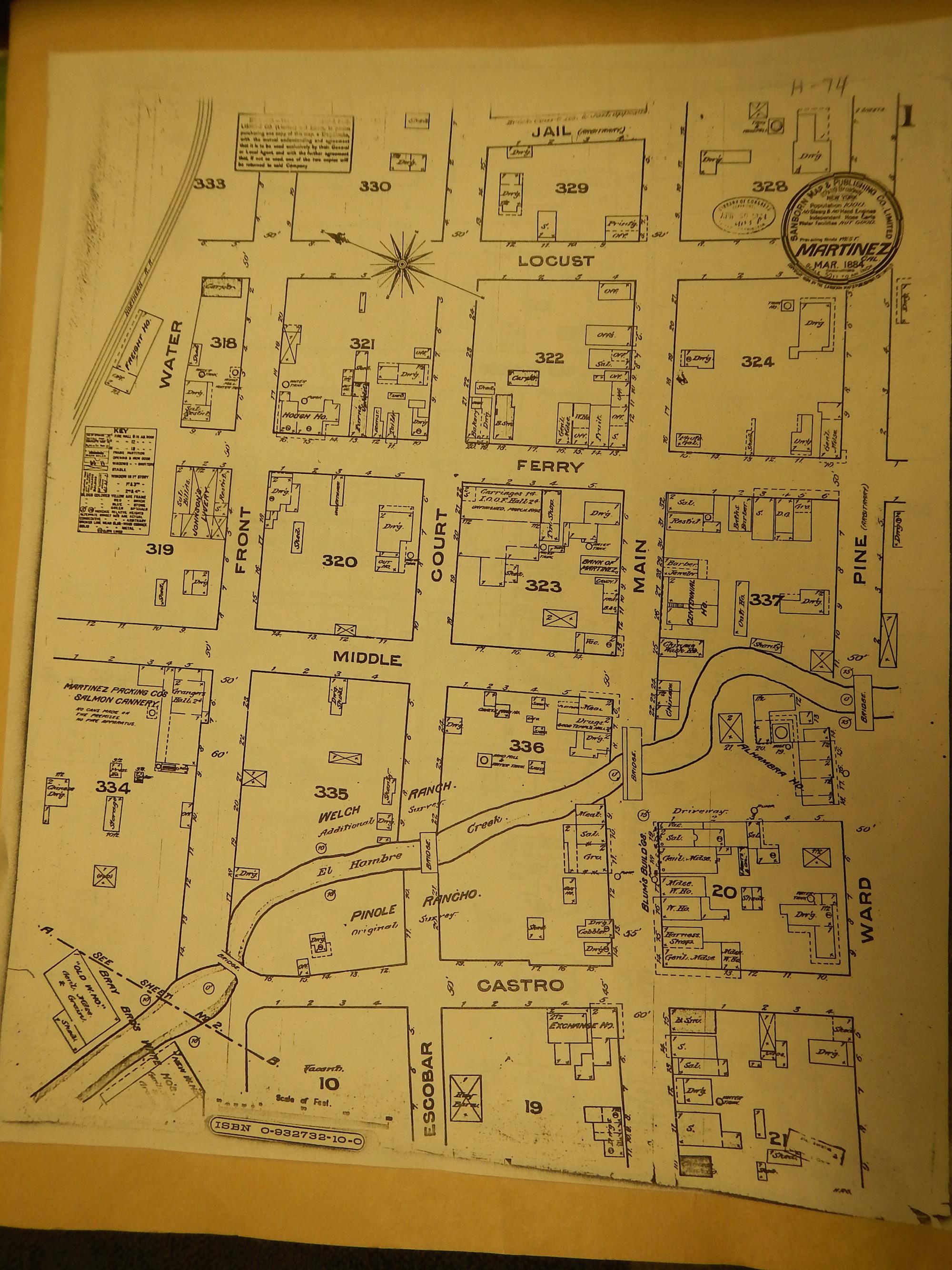 Sanborn map of Martinez, California 1884