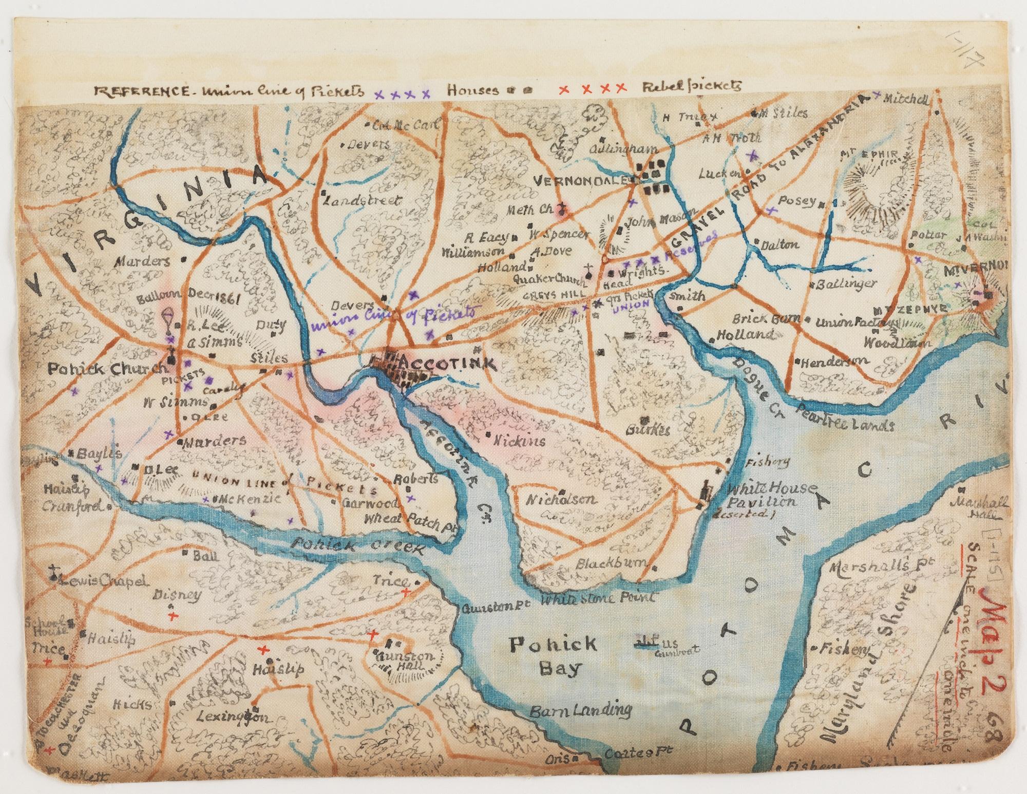 Sneden's map of Mason Neck