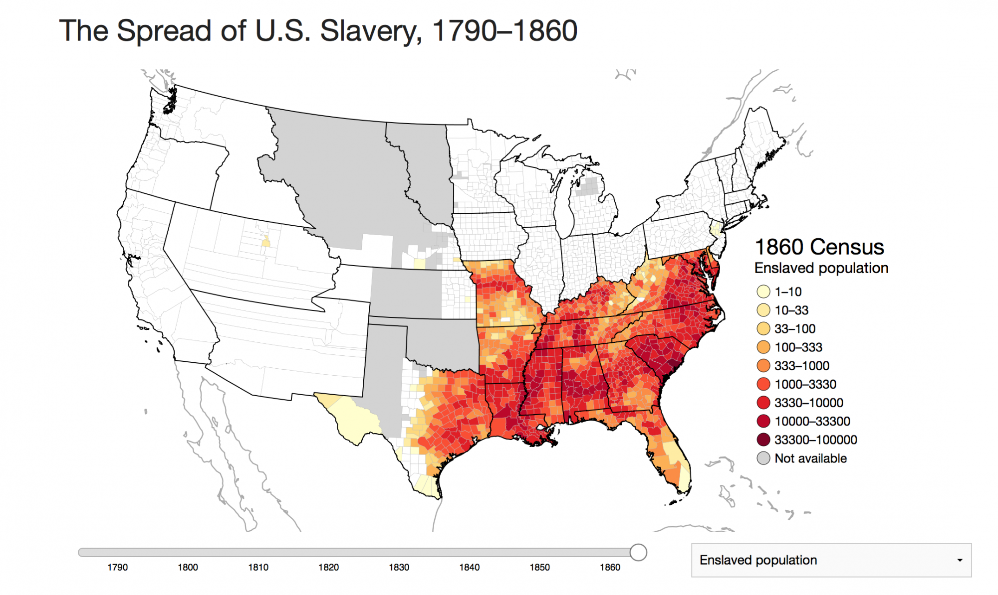 An Interactive Map Of Slavery Mapping The Nation Blog - Us population density map 1790