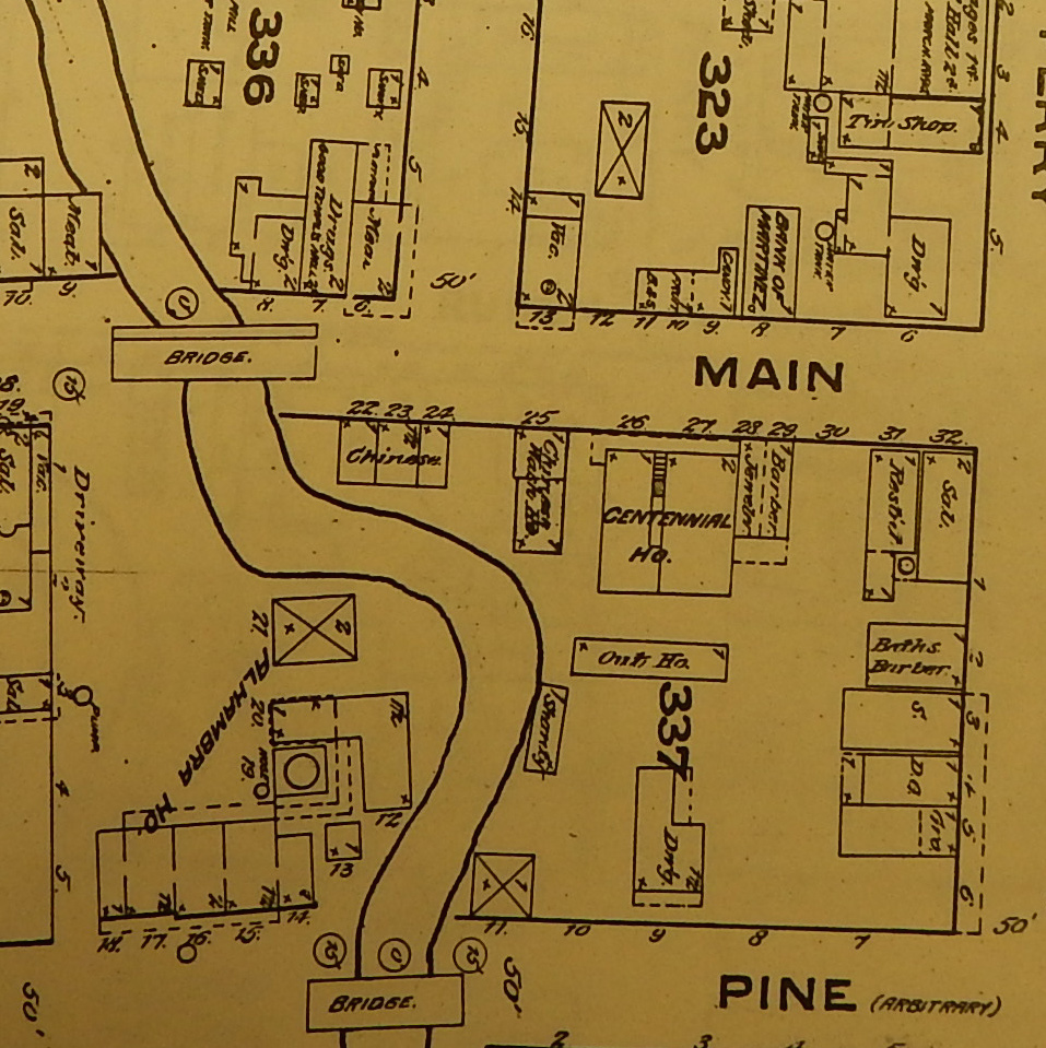 detail of Martinez Sanborn 1884 map
