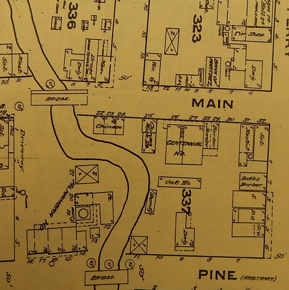 detail of Martinez Sanborn 1884 map